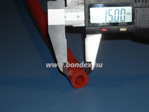 9x15 mm-es hőálló oxidvörös szilikoncső